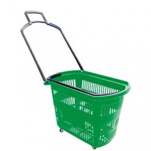 Корзина-тележка пластиковая на 4-х колесах PBT45 (600х390х400мм, 45 л, зеленая)