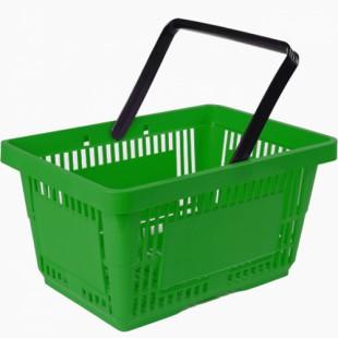 Корзина покупательская пластиковая SBP27-1H (485х330х240мм, 27л, зеленая)