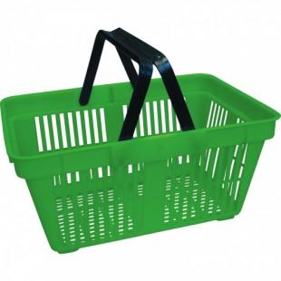 Корзина покупательская пластиковая с 2 ручками SBP27 (485х330х240мм, 27л, зеленая)