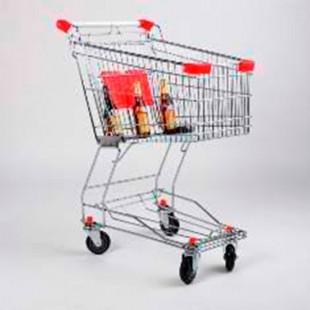 Тележка покупательская STA060-BX Standard с детским сиденьем красная (725х450х950 мм, 60л, колеса 100 и 125 мм.полиуретан)