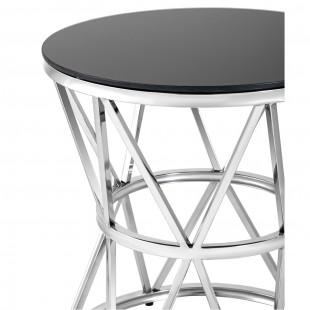 Журнальный стол 50*50 Вива, серебро стекло черное