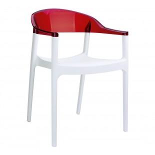 Кресло пластиковое Carmen, белый/ красный