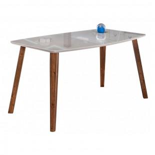 Стеклянный стол Серсея серый/ орех кантри
