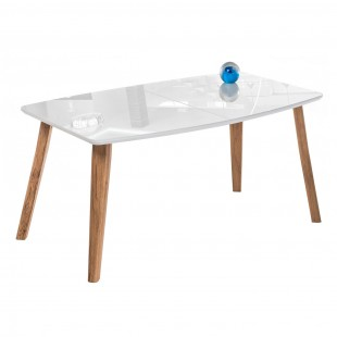 Стеклянный стол Серсея белый / дуб монтана