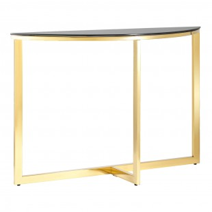 Консоль полукруглая Альба 115*30 золото стекло черное
