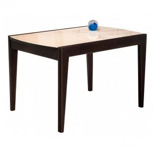 Стеклянный стол Оливер бежевый / орех премиум
