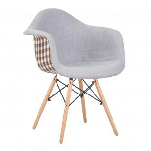 Кресло LMZL-PP620-009 светло-серое/ клетка