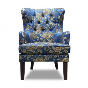 Кресло Альба, синий, с узором
