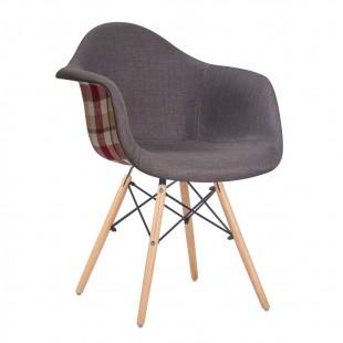 Кресло LMZL-PP620-010, серый/клетка