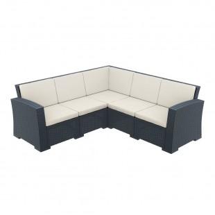 Диван пластиковый плетеный угловой с подушками Monaco Lounge Corner черный