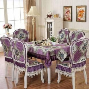 Комплект для стола и стульев, жаккардовый, фиолетовый