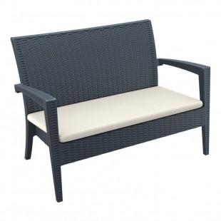 Диван пластиковый плетеный с подушкой Miami Lounge Sofa, антрацит