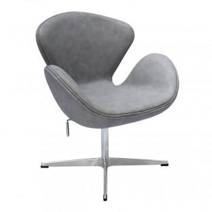 Кресло Swan Chair светло-серый, с эффектом состаренной кожи
