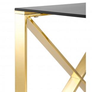 Журнальный стол 55*55 Кросс золото стекло smoke