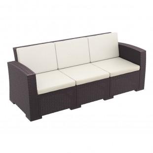 Диван пластиковый плетеный с подушками Monaco Lounge XL коричневый
