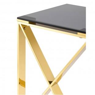 Журнальный стол 40*40 Кросс золото стекло smoke