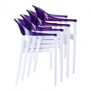 Кресло пластиковое Carmen, белый/ фиолетовый