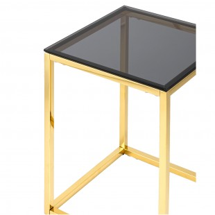 Журнальный стол 40*40 Таун золото стекло smoke