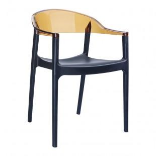 Кресло пластиковое Carmen, черный/ янтарь