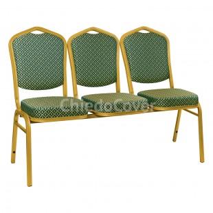 Секция из 3 стульев Хит - золото, ромб зеленый
