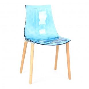 Стул Гаузи с деревянными ножками голубой
