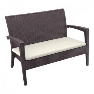 Диван пластиковый плетеный с подушкой Miami Lounge Sofa, коричневый