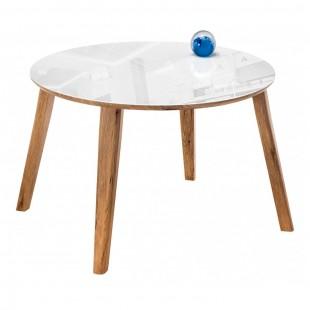 Стеклянный стол Семвэлл белый / дуб монтана
