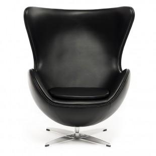 Кресло Egg, стиль Джейкобсона, черная экокожа