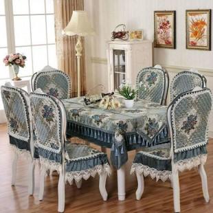 Комплект для стола и стульев, жаккардовый, голубой