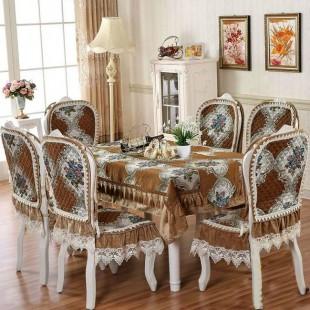 Комплект для стола и стульев, жаккардовый, коричневый