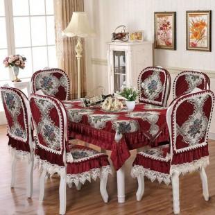 Комплект для стола и стульев, жаккардовый, красный