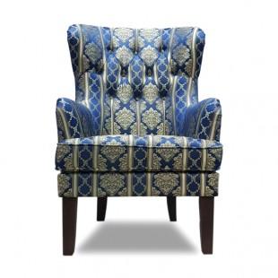 Кресло Альба, синий, с узором №2