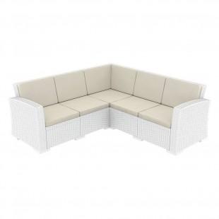 Диван пластиковый плетеный угловой с подушками Monaco Lounge Corner белый